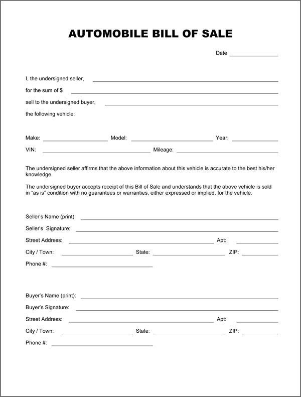 Free Printable Auto Bill Of Sale Form GENERIC Bill Of