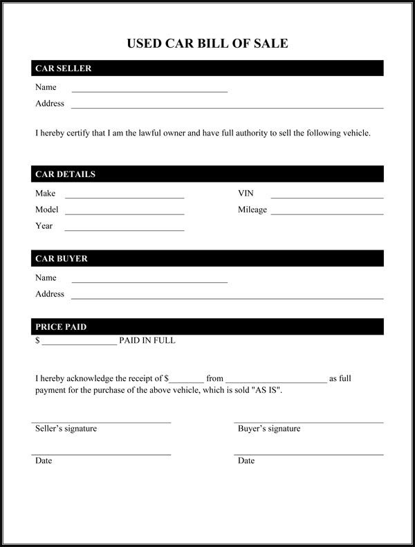 Free Printable Auto Bill Of Sale Form GENERIC In 2020