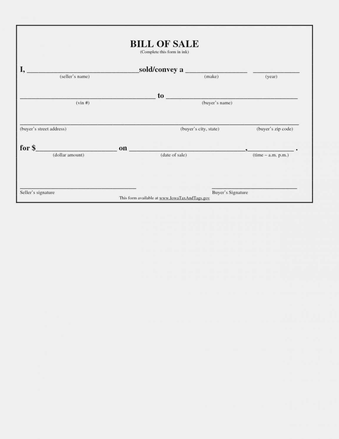 Free Printable Bill Of Sale For Automobile Template