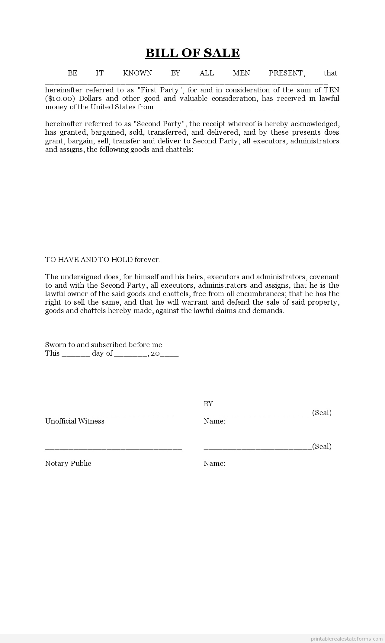 FREE PRINTABLE BILL OF SALE FORM WORD TEMPLATE