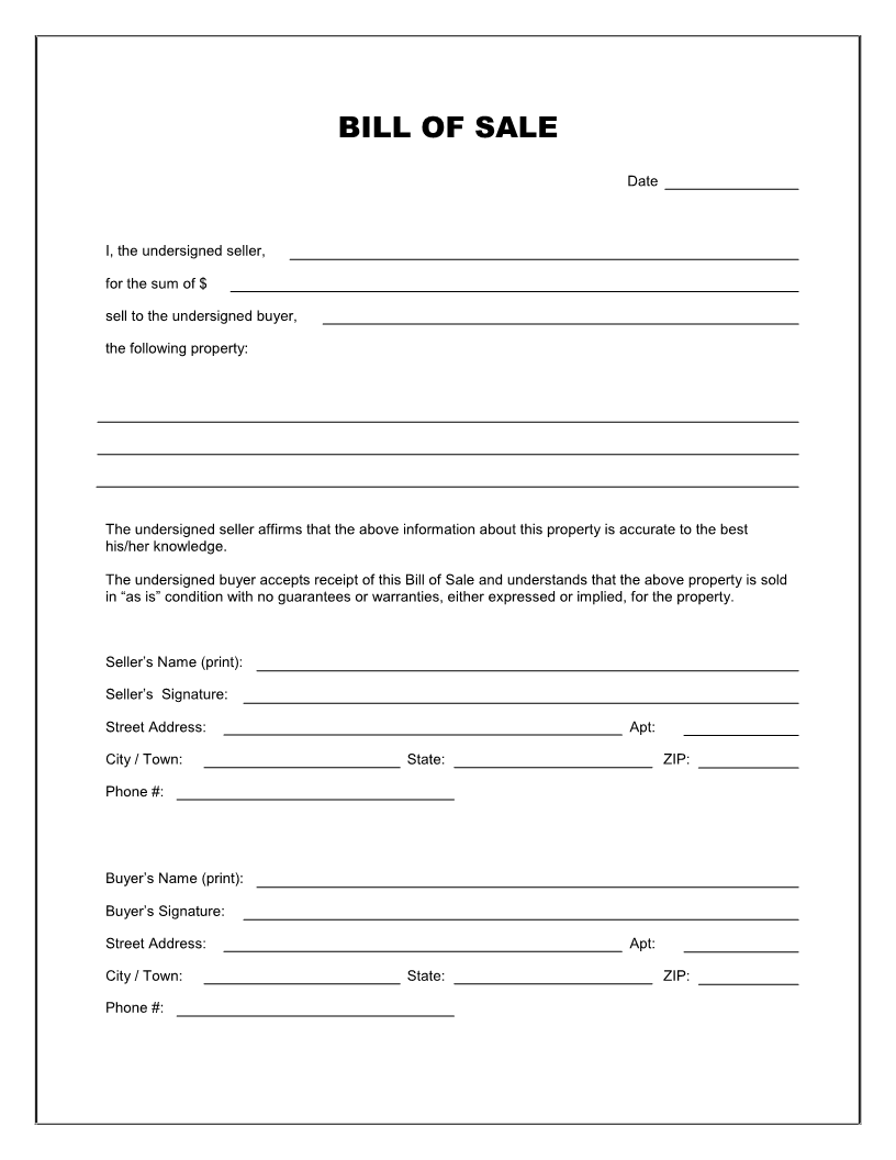 Free Printable Blank Bill Of Sale Form Template As Is