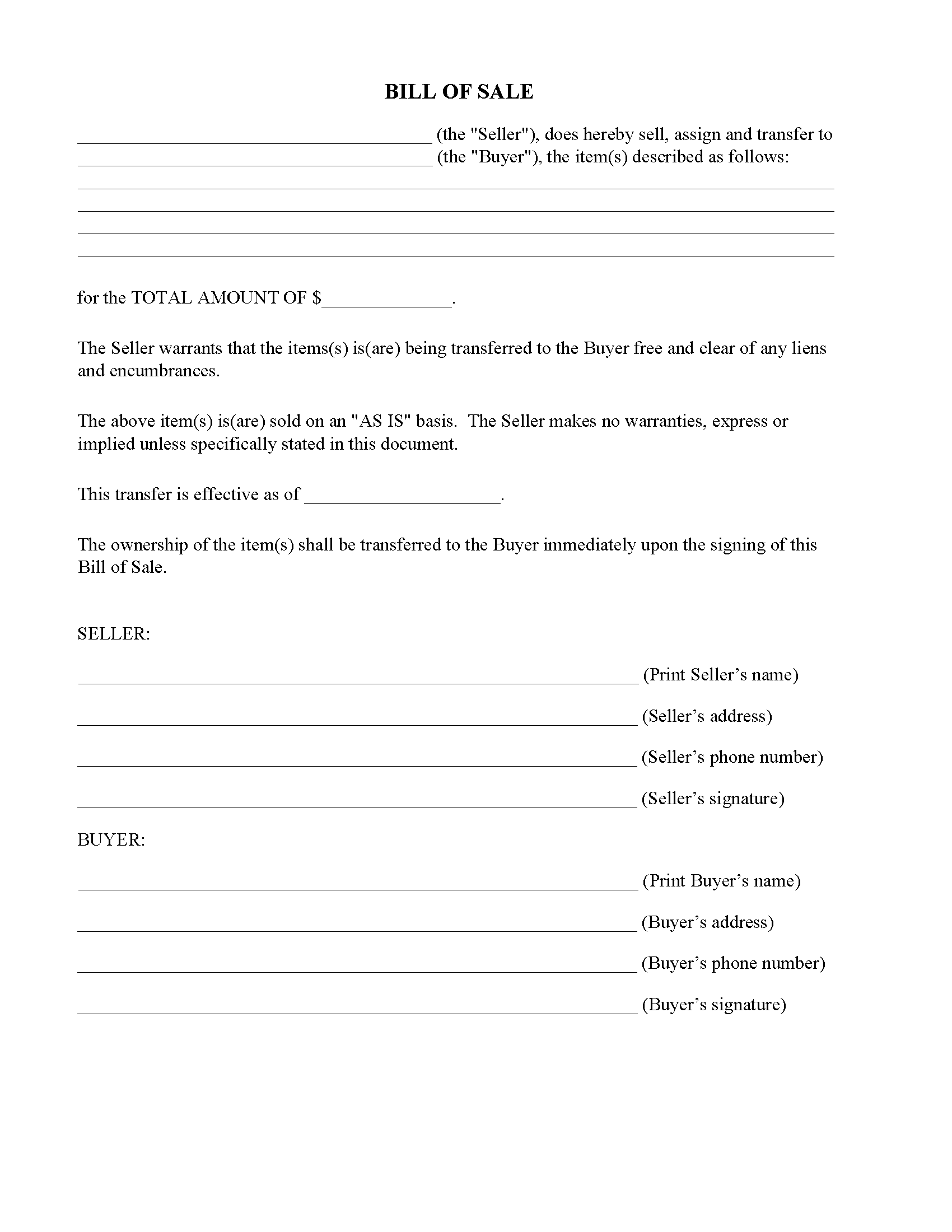 Georgia Simple Bill Of Sale Form Free Printable Legal Forms