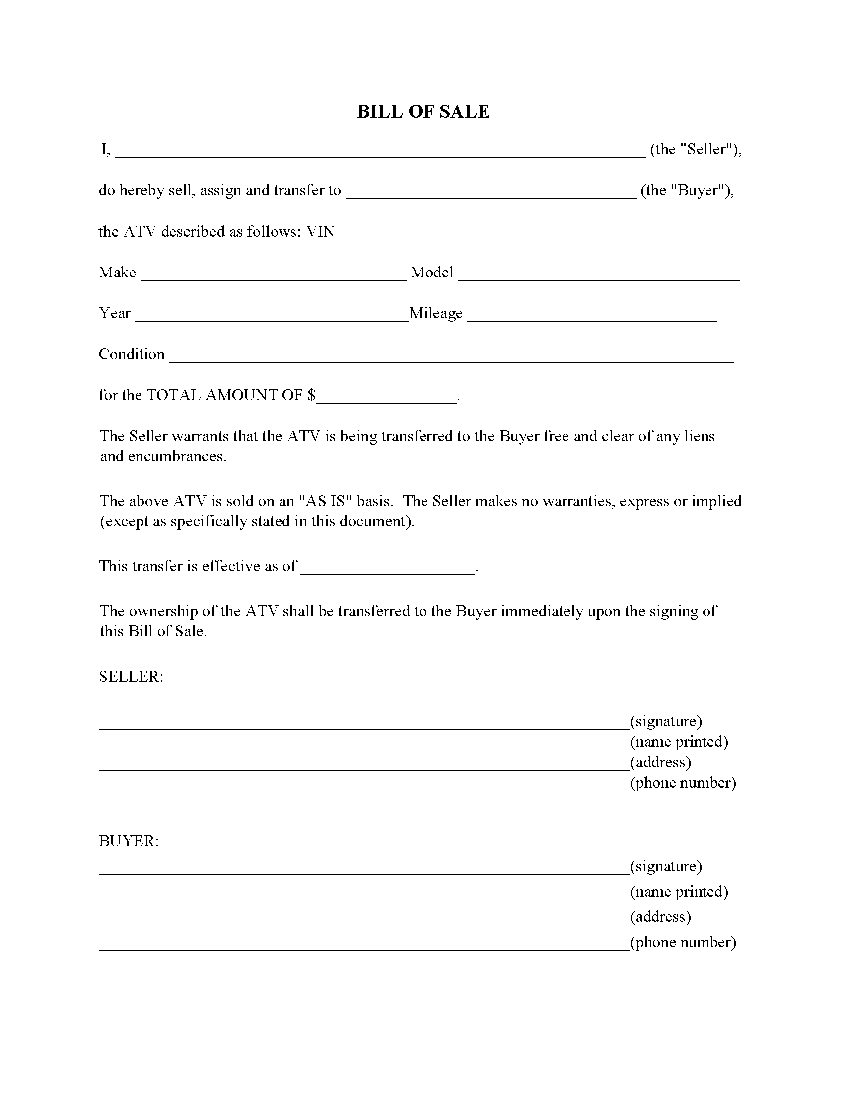 Louisiana ATV Bill Of Sale Form Free Printable Legal Forms