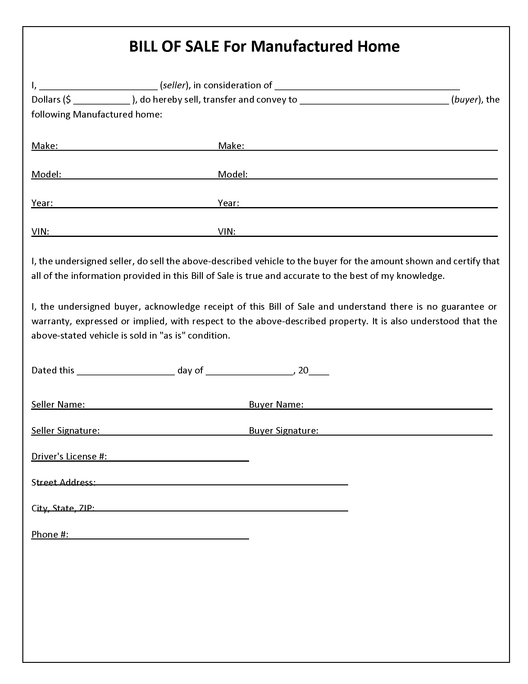 Manufactured Home Bill Of Sale Form Free Printable Legal