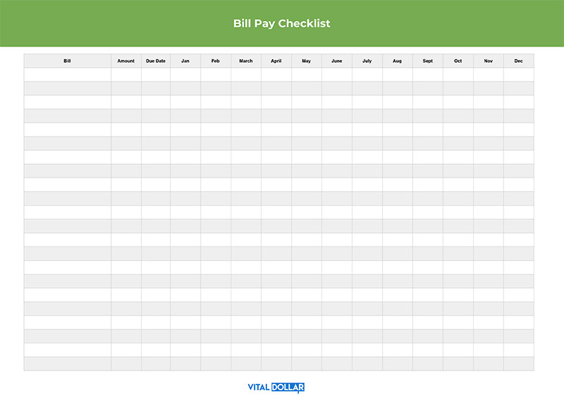 Monthly Bill Pay Checklist Printable Spreadsheet Free