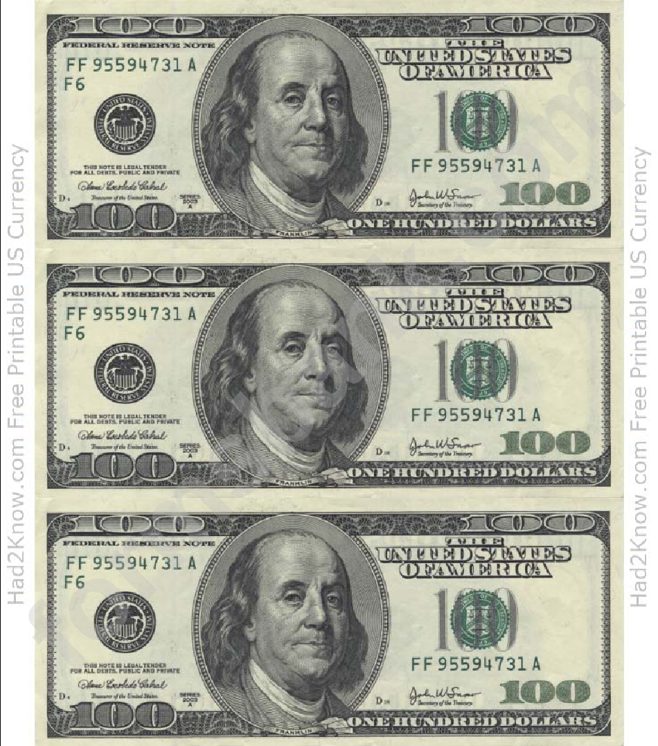 One Hundred Dollar Bill Template Front Printable Pdf