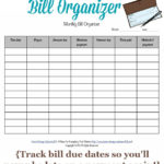 Printable Monthly Bill Organizer To Make Sure You Pay