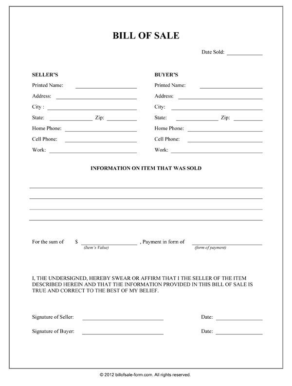 Printable Sample Bill Of Sale Form Form With Images