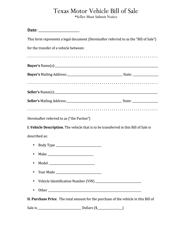 TX Motor Vehicle Bill Of Sale Fill And Sign Printable