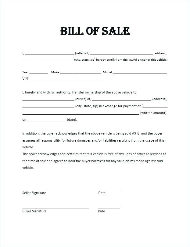 Used Car Bill Of Sale Ontario Template Cover Resume