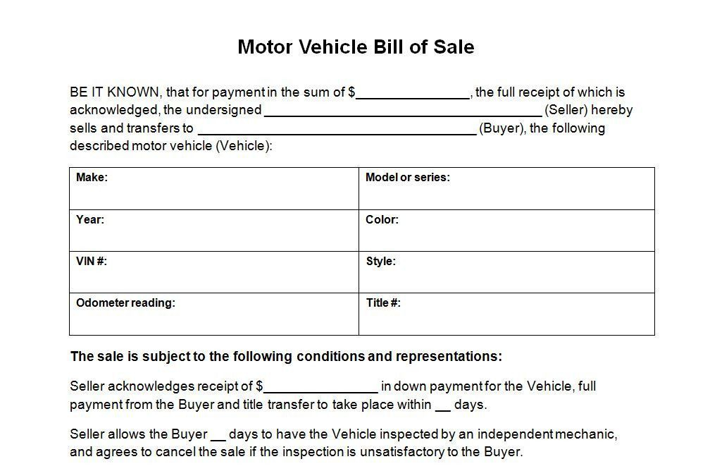 Used Car Bill Of Sale Template Perfect Vehicle Bill Sale