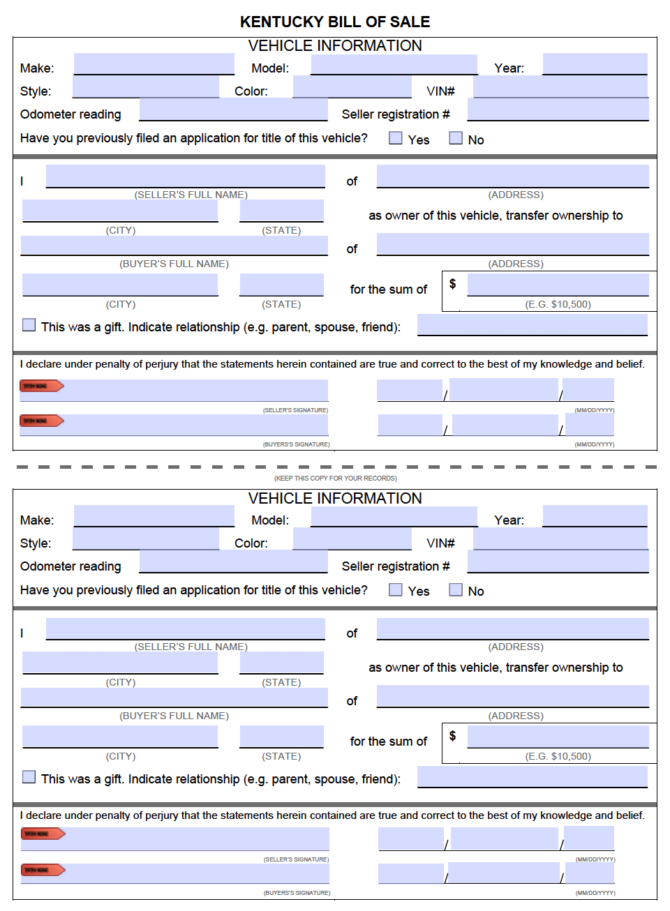 Vehicle Bill Of Sale Form Bill Of Sale Form