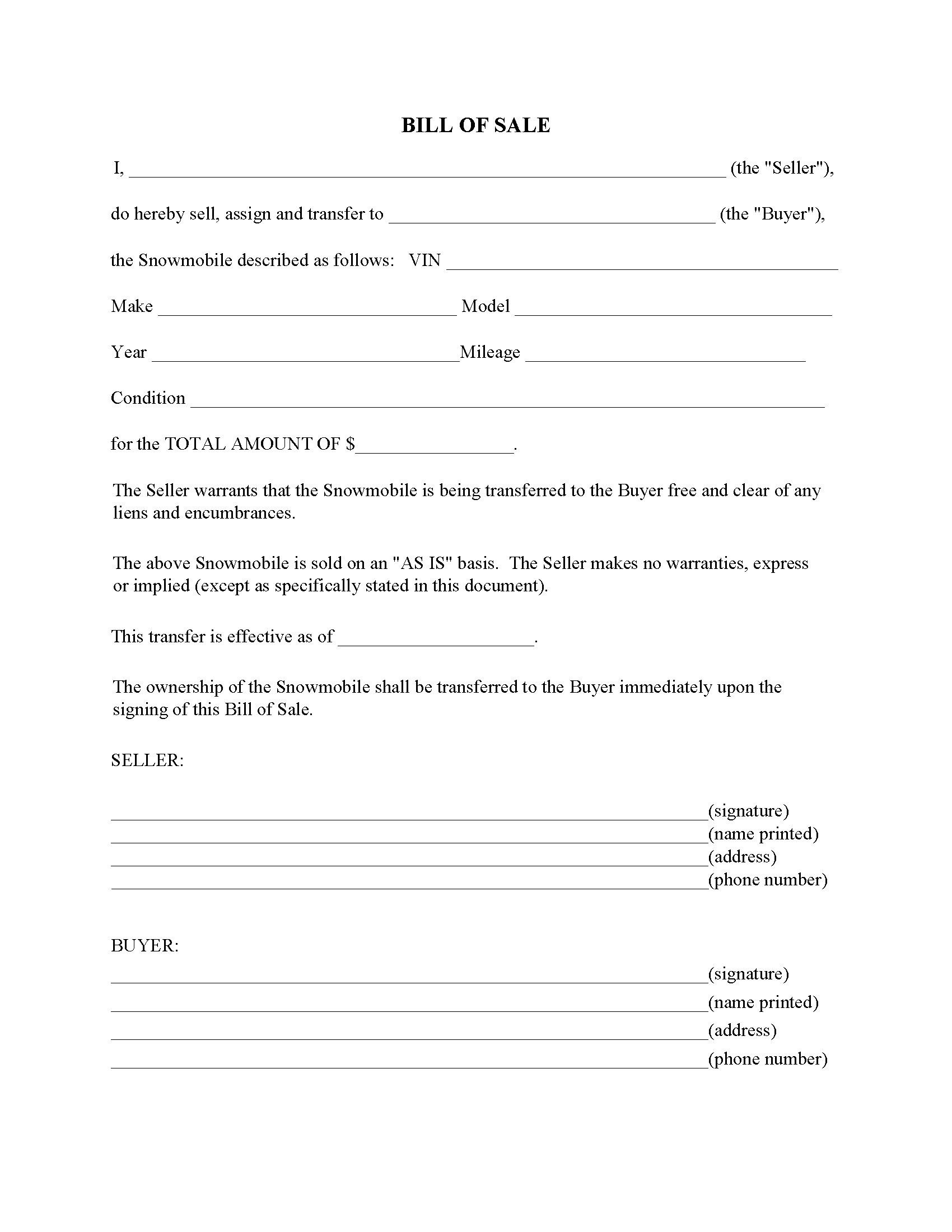 Vermont Snowmobile Bill Of Sale Form Free Printable